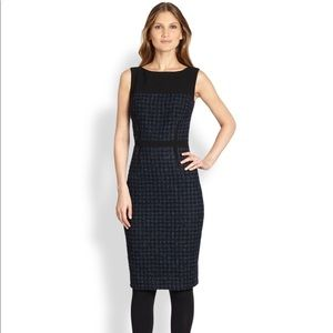 Tory Burch Sloane Black & Blue Tweed Sheath Dress